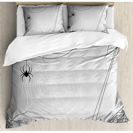 Spider Web Duvet Cover Set, Spiders Hanging from Webs Halloween Inspired Design Dangerous Cartoon Icon, Decorative Bedding Set with Pillow Shams, Grey Black White, by Ambesonne (Being Black And White For Halloween)