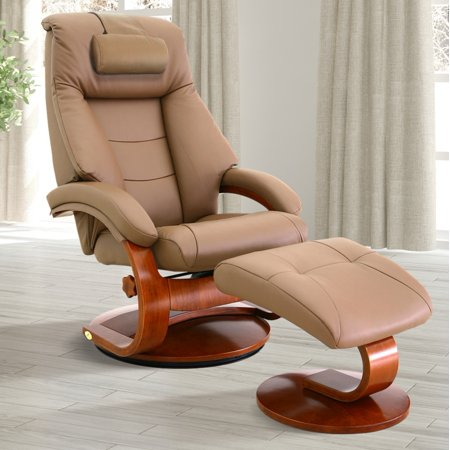 - Oslo Collection by Mac Motion Mandal Recliner and Ottoman with Cervical Pillow in Sand Top Grain Leather