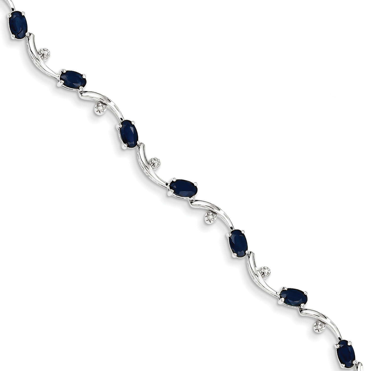 14k White Gold White Diamond and Sapphire Gemstone Bracelet by