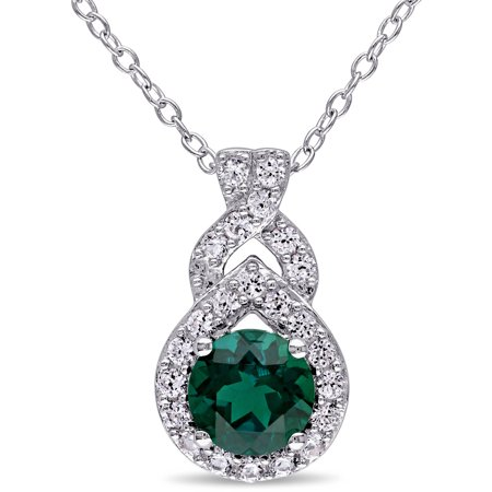 1-1/2 Carat T.G.W. Created Emerald and Created White Sapphire Sterling Silver Infinity Halo Pendant, 18 Blue Sapphire Emerald Necklace