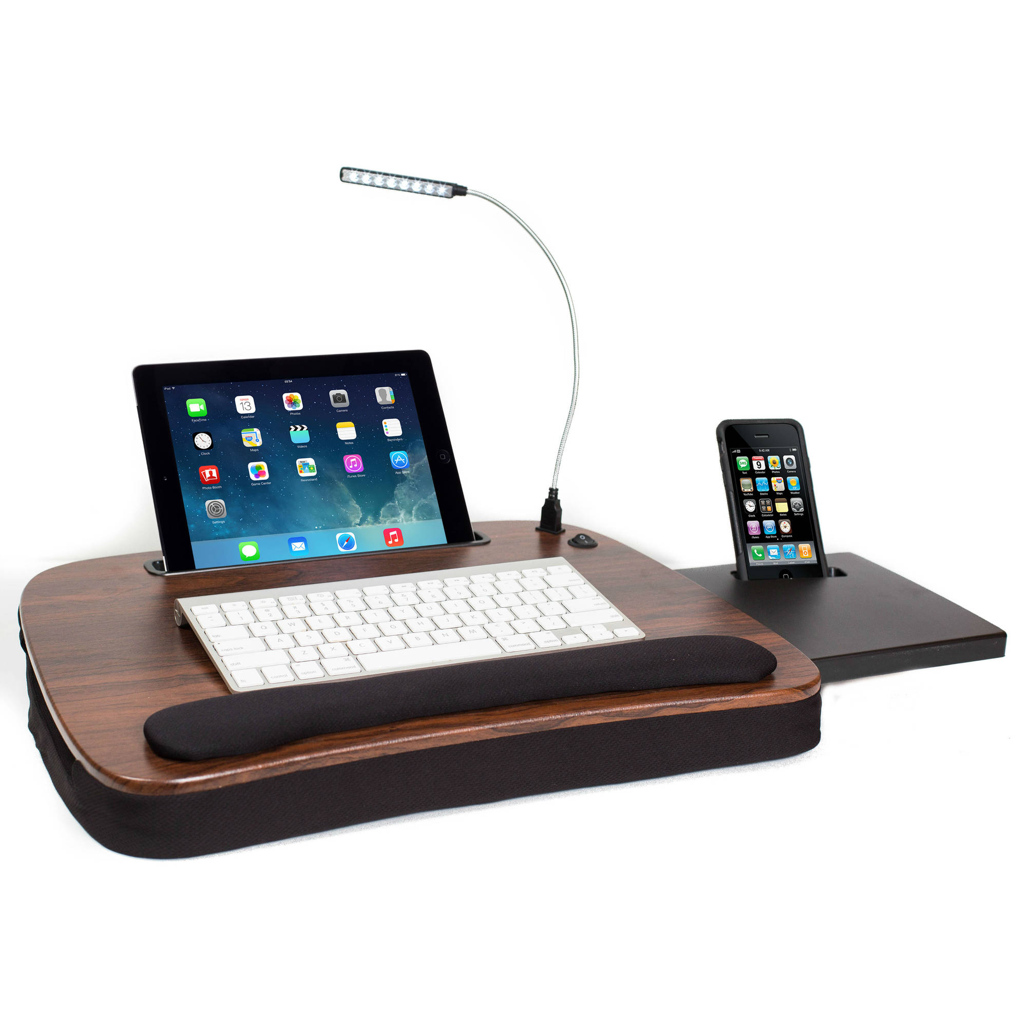 Sofia+Sam Multi Tasking Memory Foam Lap Desk, Wood Top with USB Light