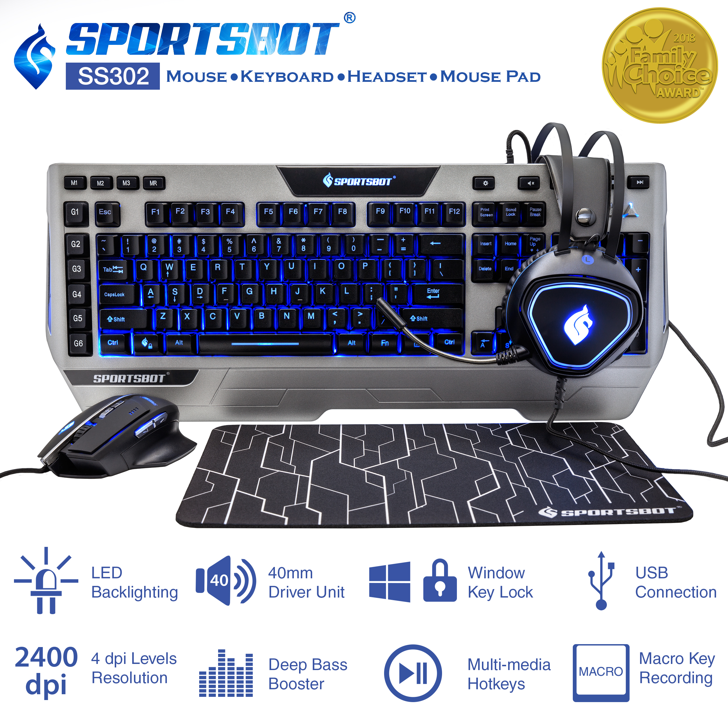 SportsBot SS302 Blue LED Gaming Over-Ear Headset, Keyboard, Mouse & Mouse Pad Combo Set