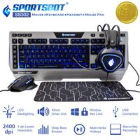 9d7af53154f Product Image SportsBot SS302 Blue LED Gaming Over-Ear Headset, Keyboard,  Mouse & Mouse Pad