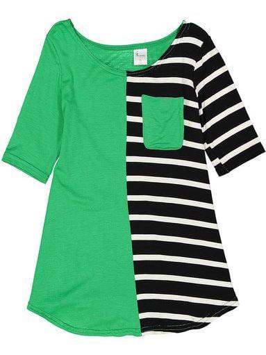 Little Girls Green Black White Stripe Cotton Pocket Tunic