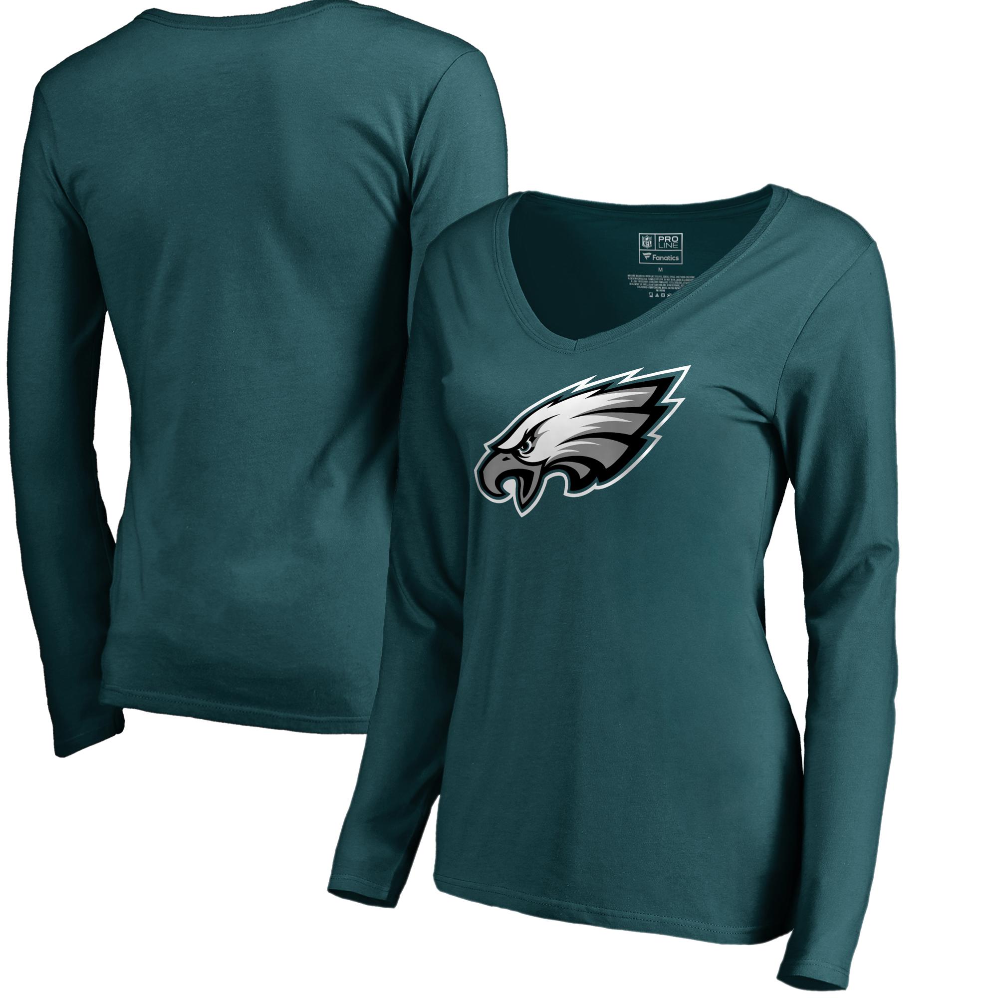 Philadelphia Eagles NFL Pro Line by Fanatics Branded Women's Primary Logo II V-Neck Long Sleeve T-Shirt - Midnight Green