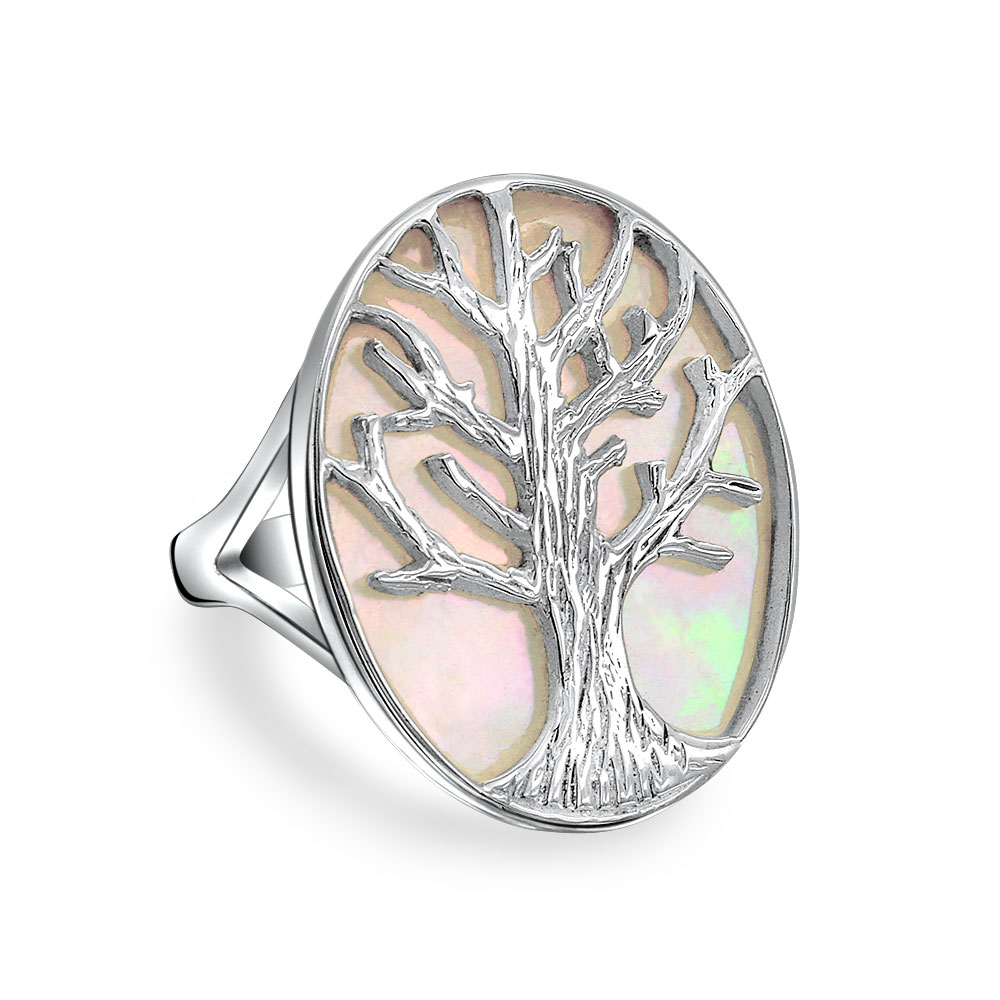 Bling Jewelry Tree of Life Abalone Shell Modern Ring 925 Sterling Silver