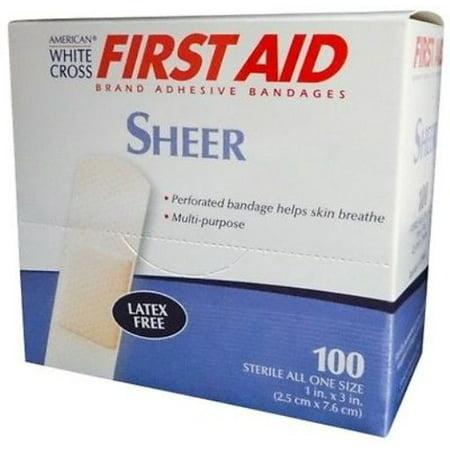 "Sheer Adhesive Bandage 1"" x 3"" 700 ct by American White Cross"
