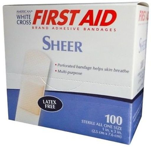 "First Aid Adhesive Bandage, Sheer, 1"" x 3"" 200 Bandages MS-20250"