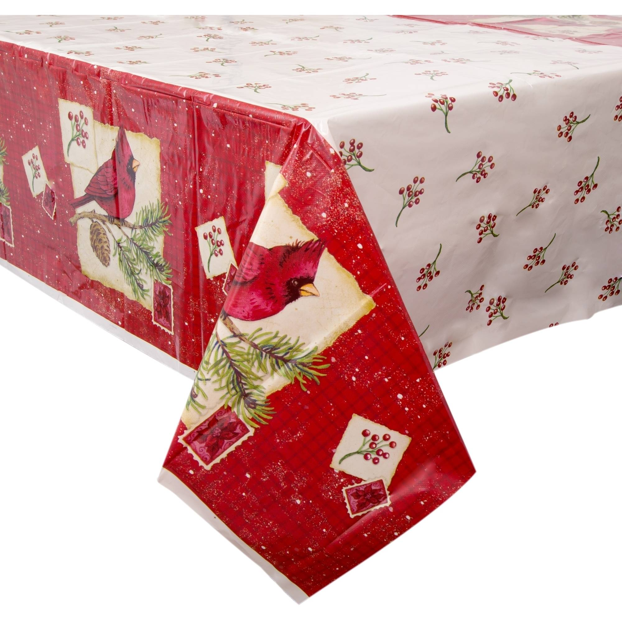 """(3 pack) Plastic Cardinal Christmas Table Cover, 84"""" x 54"""""""