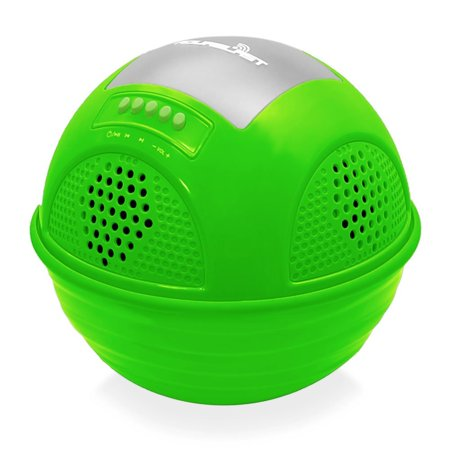 Aqua Blast Bluetooth Floating Pool Speaker System with Built-in Rechargeable Battery and Wireless Music Streaming (Green