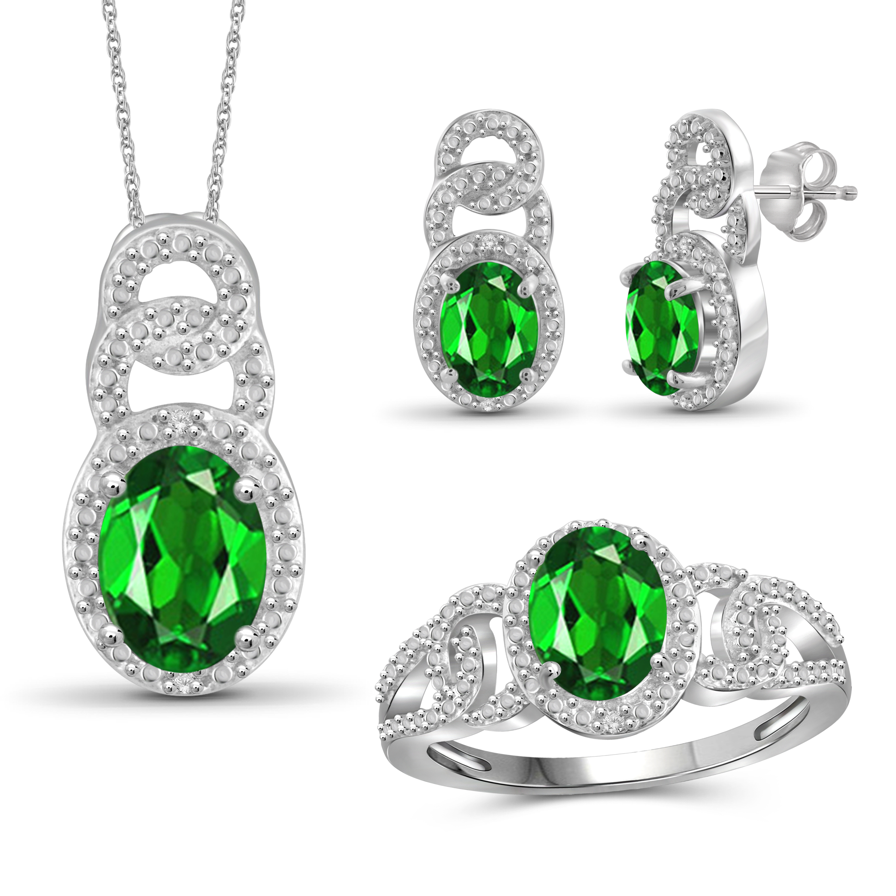 JewelersClub 4.00 Carat T.G.W. Chrome Diopside And White Diamond Accent Sterling Silver 3-Piece Jewelry set