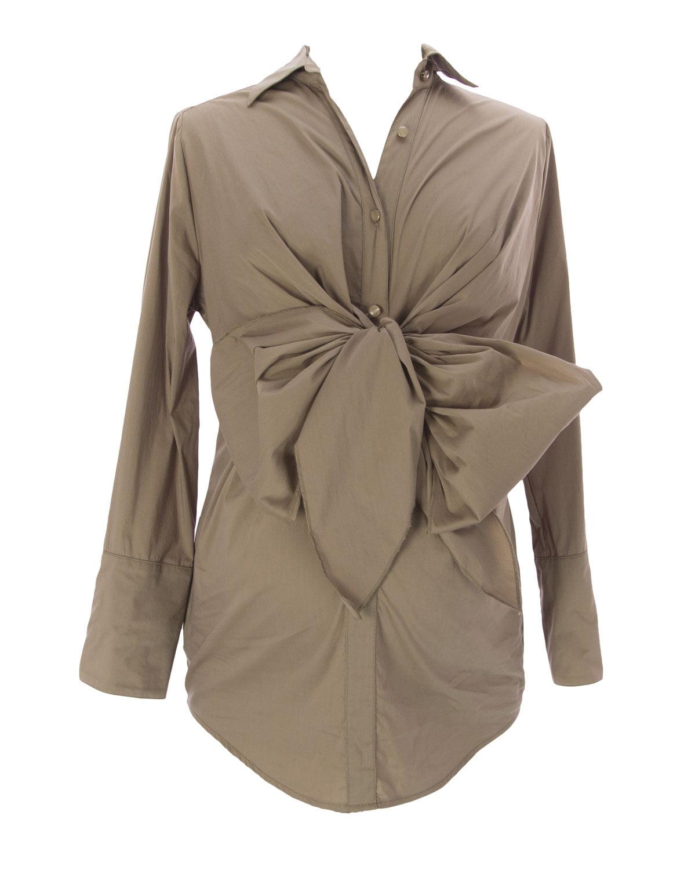 9FASHION Maternity Women's Boni Nursing Sashe Shirt, Small, Sepia