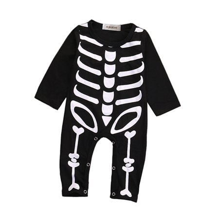 StylesILove Unisex Baby Chic Skeleton Long Sleeve Romper Halloween Costume (80/9-12 - Spirit Halloween Babies