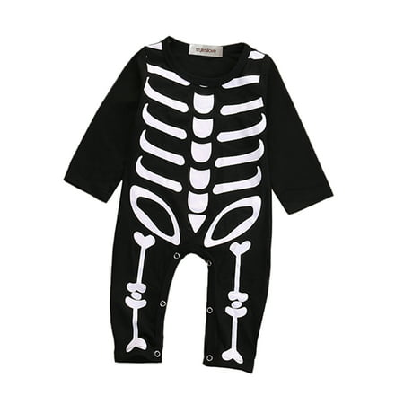 StylesILove Unisex Baby Chic Skeleton Long Sleeve Romper Halloween Costume (80/9-12 Months)](Tiger Halloween Costume For Baby)