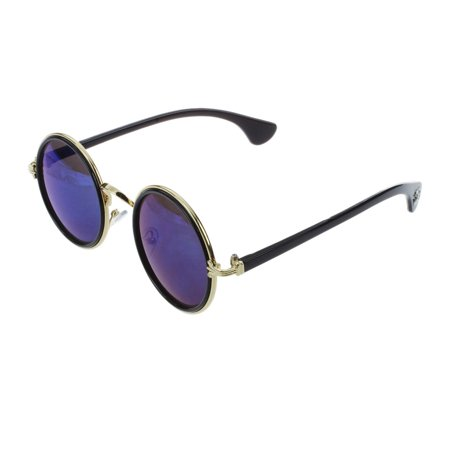 THZY Fashion Round Mirror Lens UV400 Sunglasses Women Men Unisex Glasses Blue
