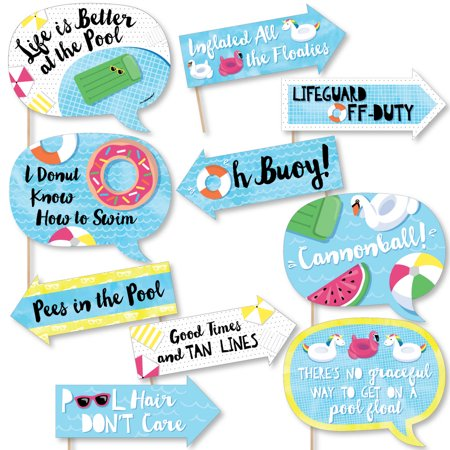 Funny Make A Splash - Pool Party - Summer Swimming Party or Birthday Party Photo Booth Props Kit - 10 Piece - Pool Party Items