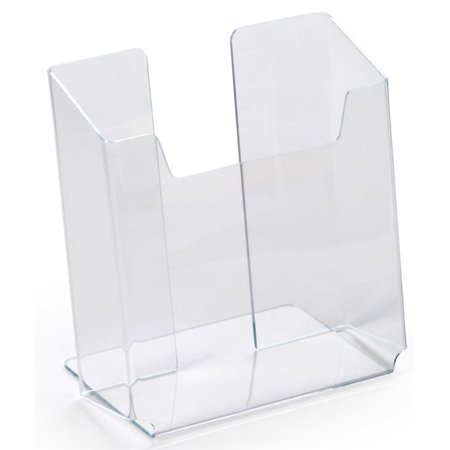 """Three Tier Desktop Literature Holder (Set of 10, Brochure Holders, Clear Acrylic Desktop Literature Displays Hold 5-1/2""""w Flyers – Countertop Pamphlet Dispensers Have an Angled Back)"""