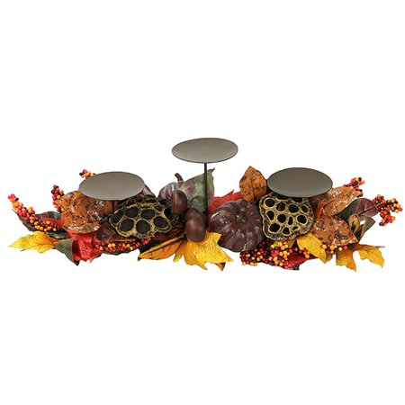"24"" Lotus Harvest Autumn Leaf and Berry Thanksgiving Pillar Candle Holder"