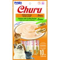 Inaba Churu Grain-Free Cat Treat, Chicken Puree Variety Pack, 10 Tubes