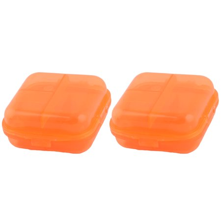 Hiking Plastic 6 Compartments Medicine Pill Holder Storage Box Case Orange 2 Pcs