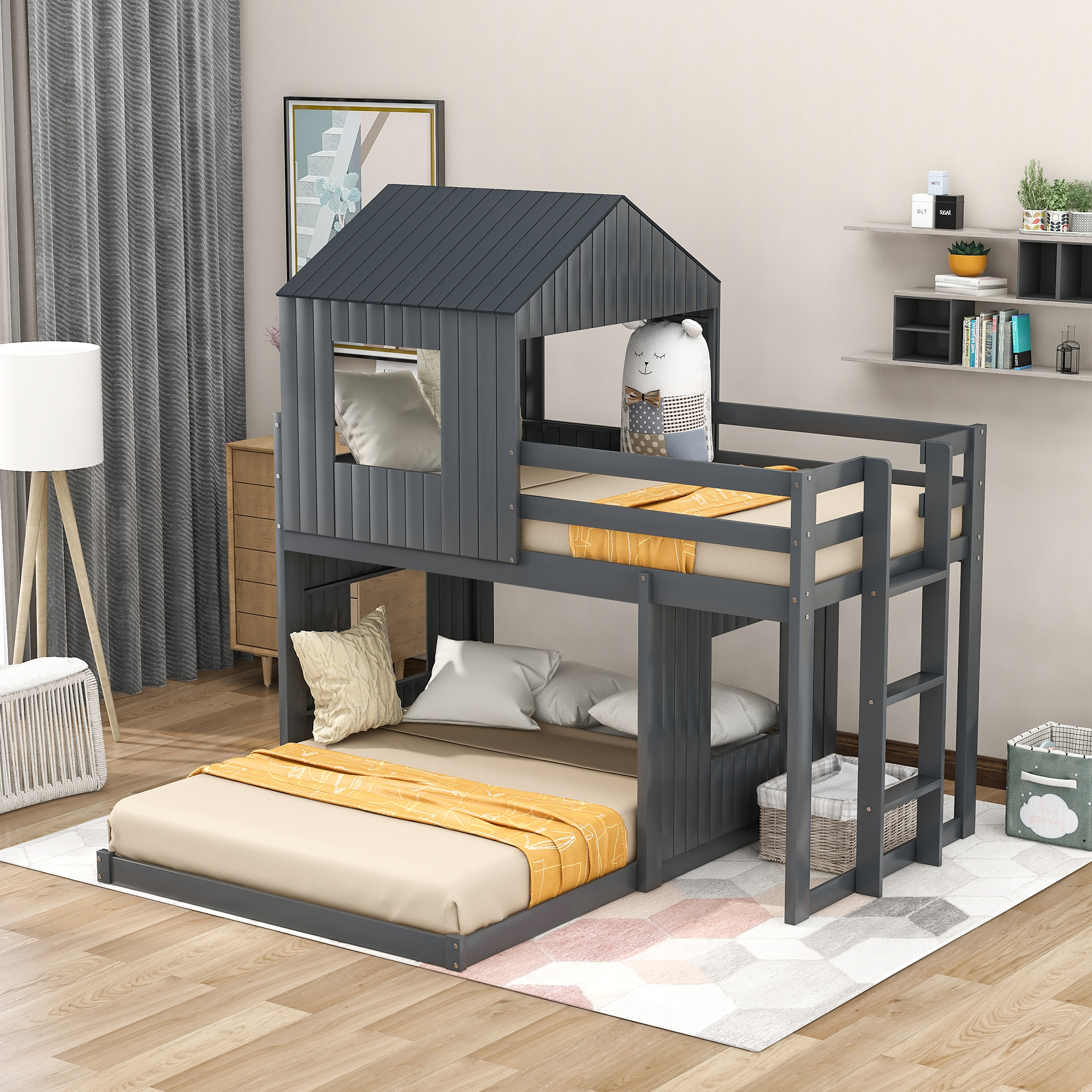Wooden Twin Over Full Bunk Bed Loft Bed With Farmhouse Ladder And Guardrails For Kids Toddlers Boys Girls Gray Walmart Com Walmart Com