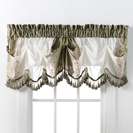 Danbury Embroidered Window Beaded Valance Treatments By GoodGram® - Sage ()