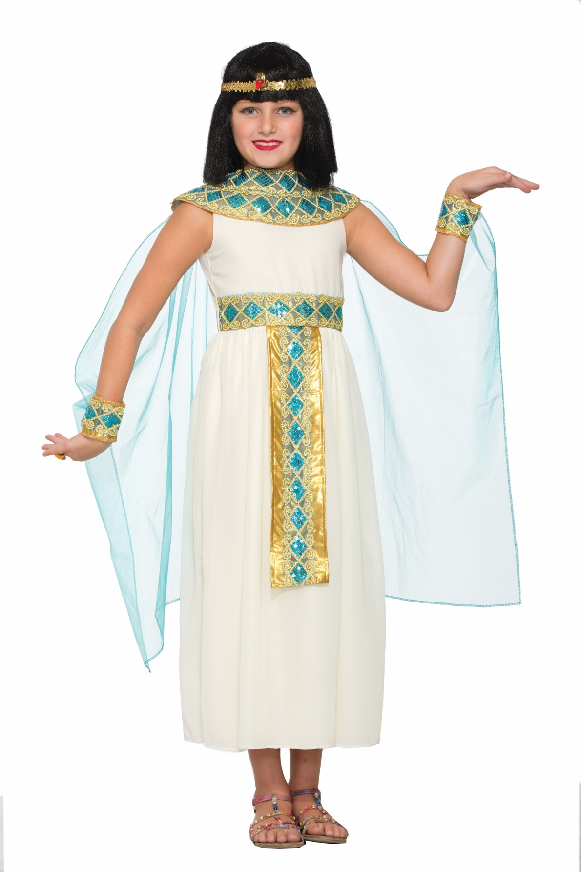 egyptian queen cleopatra child halloween costume girls white roman