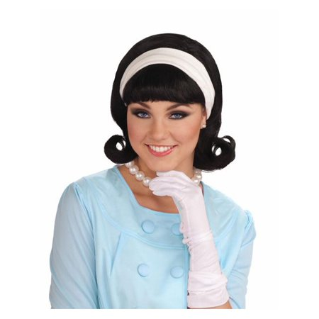 50s Style Wigs (50s Black Wig with Detachable Headband for)