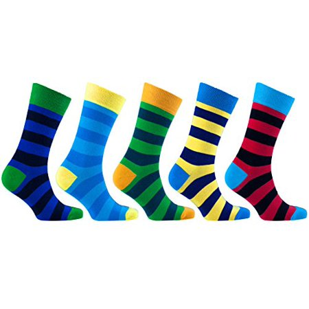Socks n Socks - Men's 5-pairs Luxury Cotton Cool Funky Colorful Fashion Designer Fun Stripe Dress Socks with Gift