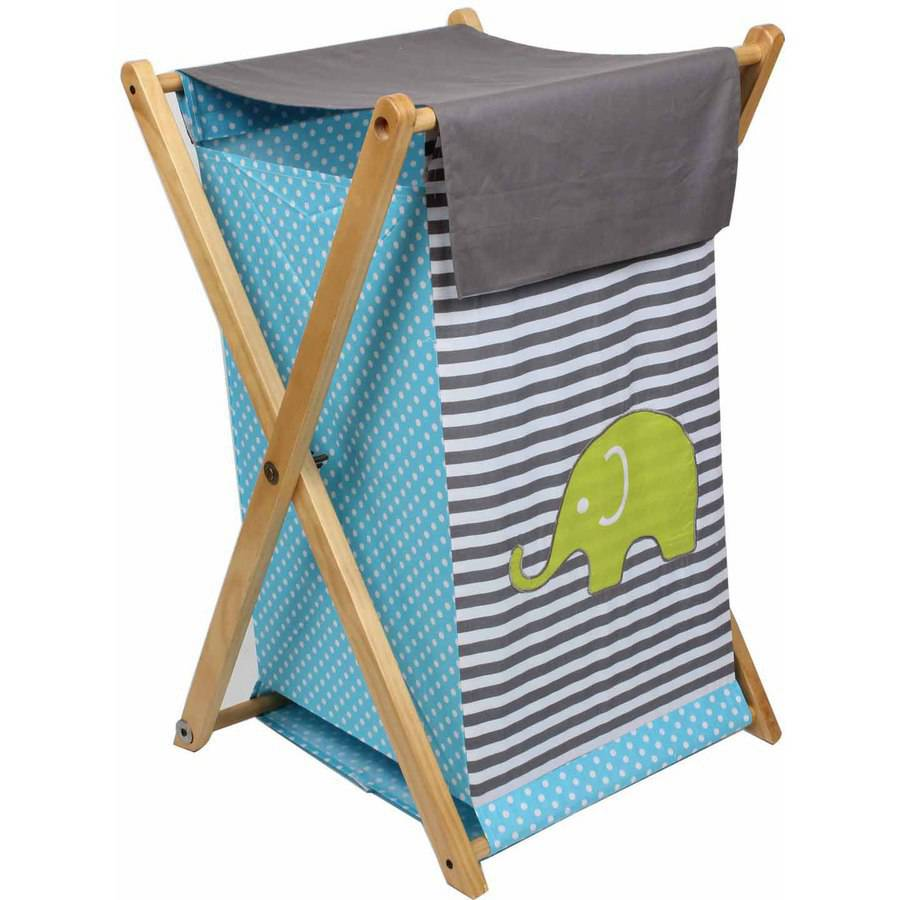 Bacati Elephants Hamper with Cotton Percale cover, mesh liner and Natural Color Wooden frame, Aqua Lime Gray by Bacati