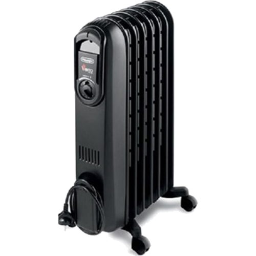 DeLonghi Vento Safeheat High-Speed Convection Oil-Filled Radiator with Timer, Black TRV0715TB