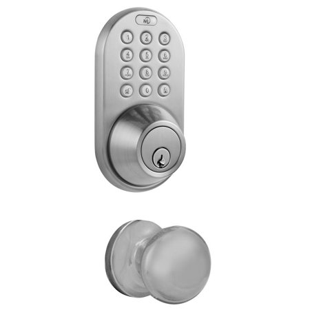 - MiLocks Digital Deadbolt Door Lock and Passage Knob Combo, Satin Nickel Finish with Keyless Entry via Remote Control and Keypad Code for Exterior Doors (XFK-02SN)
