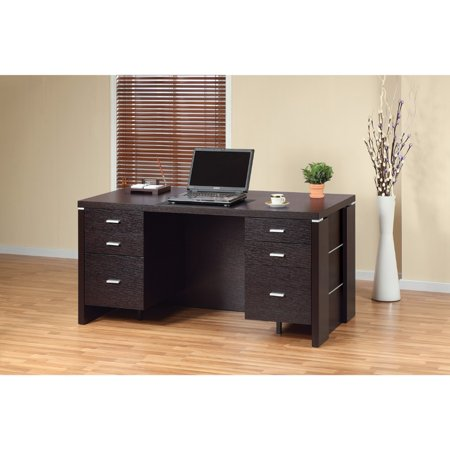modern style desk with 2 locking file drawers dark brown. Black Bedroom Furniture Sets. Home Design Ideas
