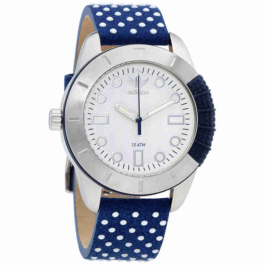 Adidas White Dial Polkadot Leather Strap Ladies Watch ADH3054 by Adidas