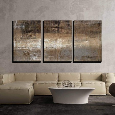 "wall26 - Grey and Brown Painting - Canvas Art Wall Decor - 16""x24""x3 Panels"