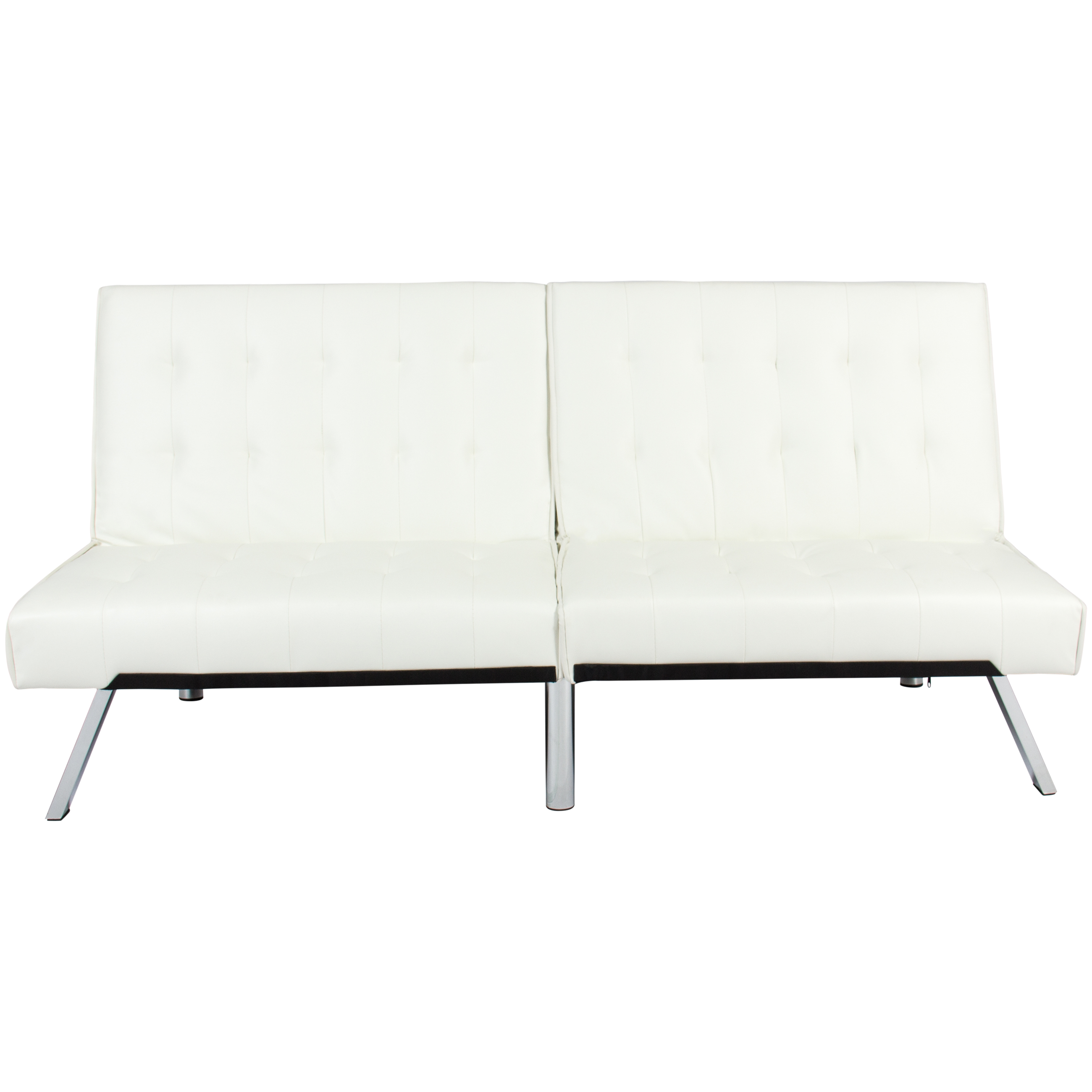 Best Choice Products Modern Leather Reclining Futon Sofa Bed Couch Lounger  Sleeper Furniture w/ Chrome Legs - White