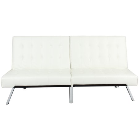 Dylan Leather Furniture (Best Choice Products Modern Leather Reclining Futon Sofa Bed Couch Lounger Sleeper Furniture w/ Chrome Legs - White)