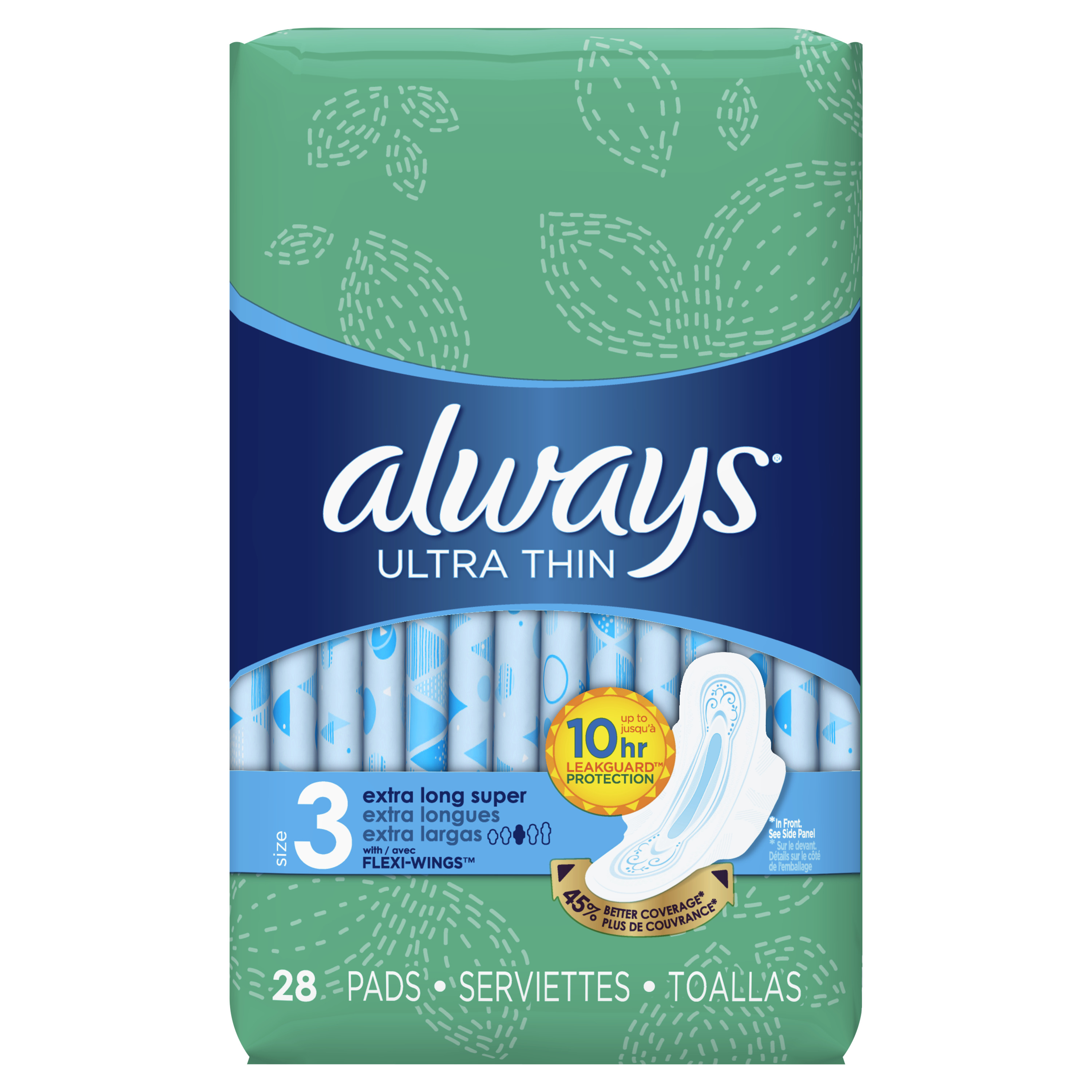 Always Ultra Thin, Size 3, Extra Long Super Pads With Wings, Unscented, 28 Count