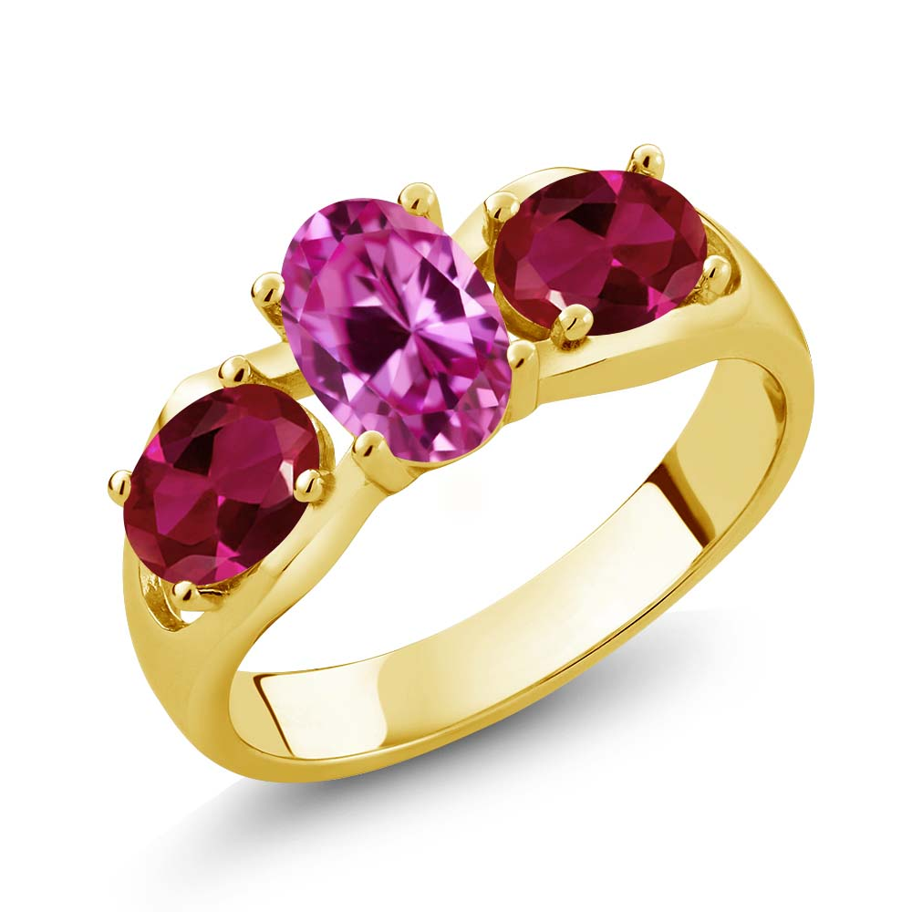 1.90 Ct Oval Pink Created Sapphire Red Created Ruby 18K Yellow Gold Ring by