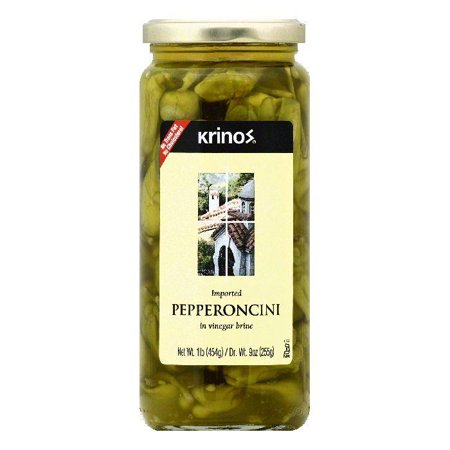 Krinos in Vinegar Brine Pepperoncini, 1 lb (Pack of 6) ()