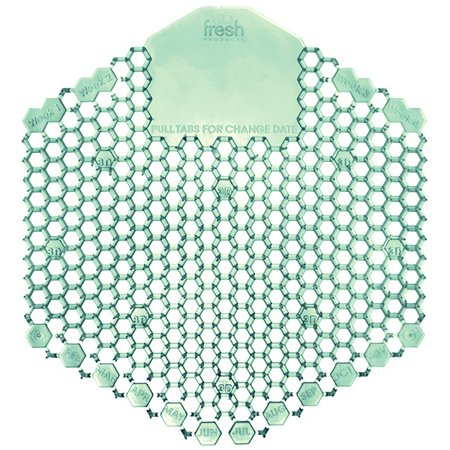 Fresh Products Wave 3D Urinal Freshener Deodorizer - Cucumber Melon - Lasts upto 30 Day - Deodorizer, Flexible, Translucent - 10 / Box - Green
