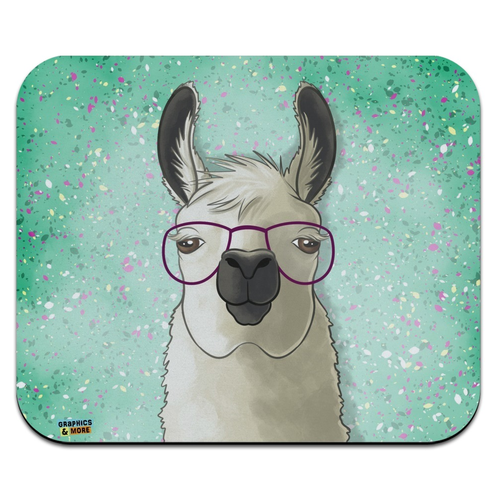 Hip Llama with Glasses Low Profile Thin Mouse Pad Mousepad