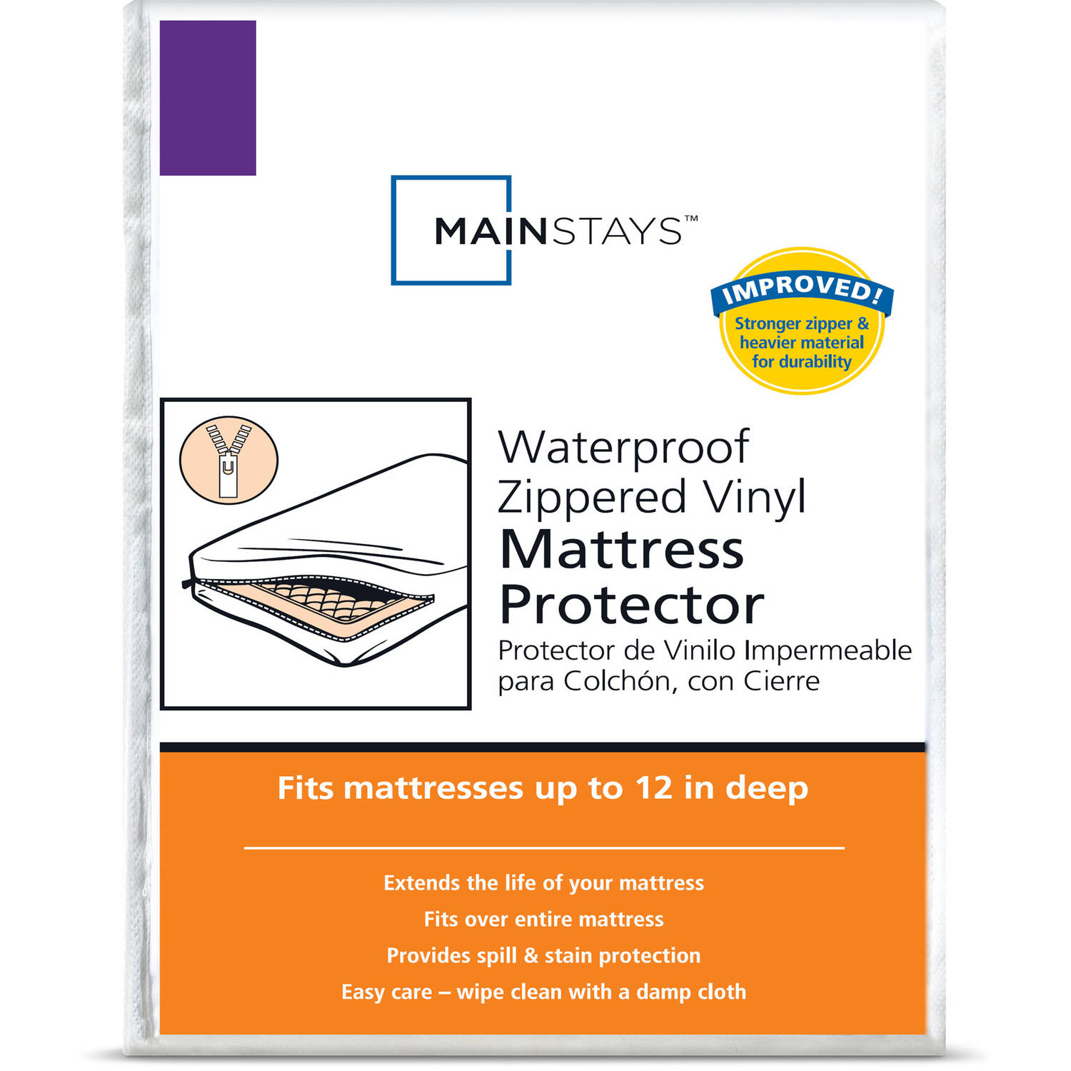 Mainstays Waterproof Zippered Vinyl Mattress Protector by American Textile Company