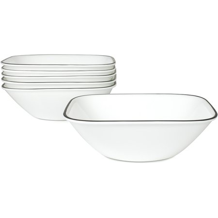 Corelle Square Simple Lines 22-oz Soup Bowl, Set of (4 Rimmed Soup Bowls)