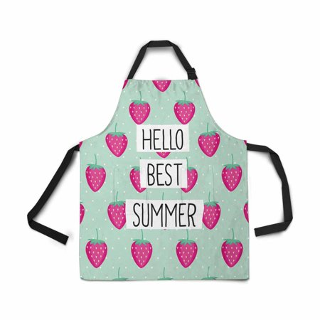 ASHLEIGH Adjustable Bib Apron for Women Men Girls Chef with Pockets Hello Best Summer Pink Strawberry Summer Fruit Mint Polka Dot Kitchen Apron for Cooking Baking Gardening Grooming