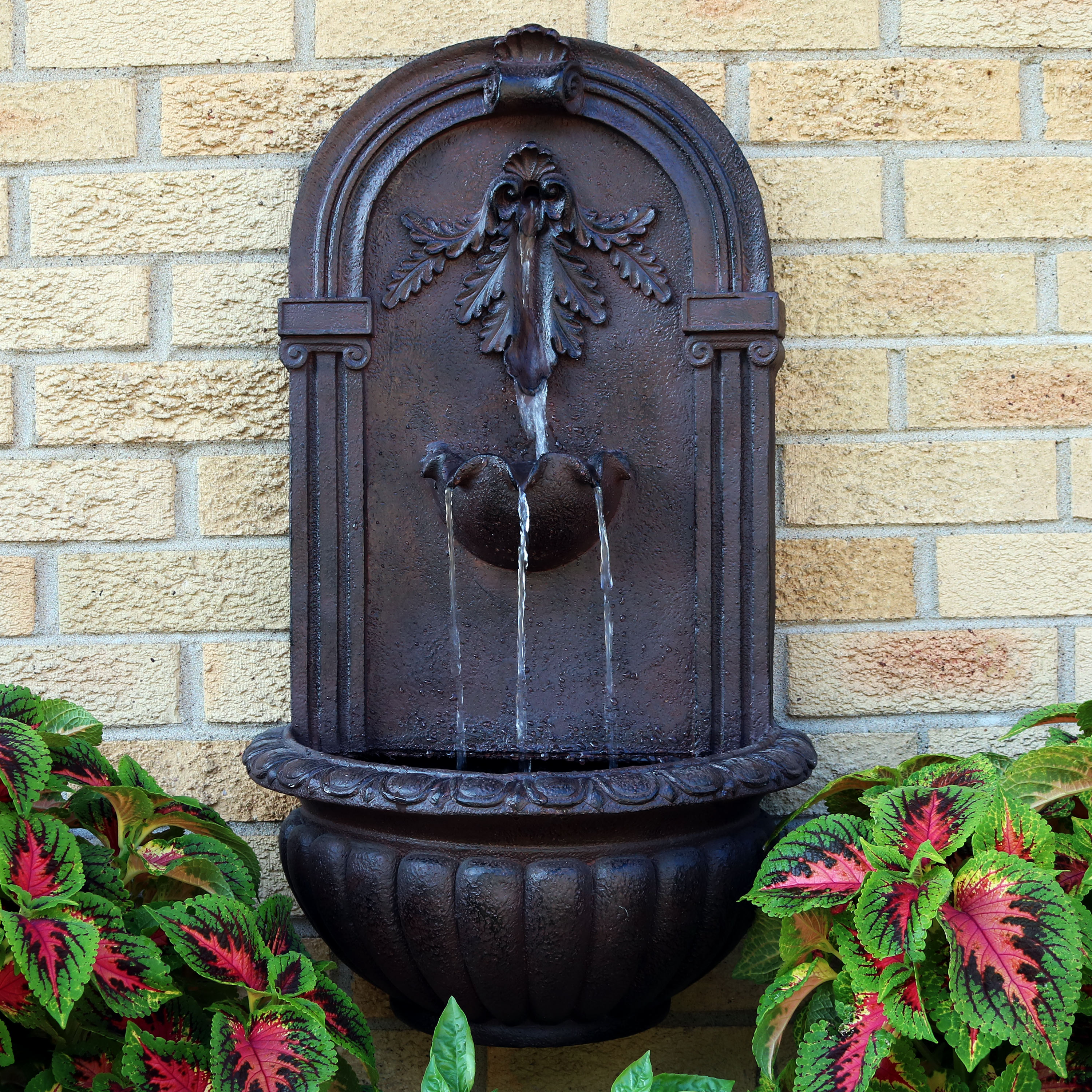 Sunnydaze Florence Solar-on-Demand Wall Fountain, Iron Finish, Solar on Demand Feature
