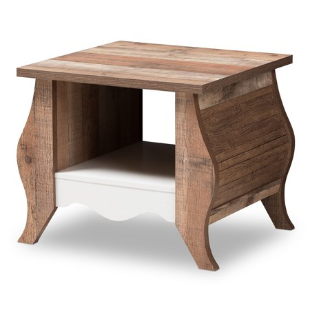 Baxton Studio Raynell Country Cottage Farmhouse White and Oak-Finished End Table (Country Cottage Nesting Tables)