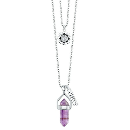 Fine Silver Plated Amethyst Two Layer Necklace with Crystal Flower Charm