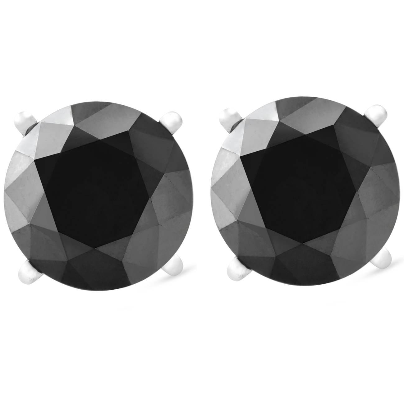 1ct Black Diamond Studs in 14k White Gold Heat Treated