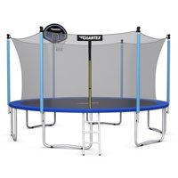 14 FT Trampoline Combo Bounce Jump Safety Enclosure Net W/Basketball Hoop Ladder